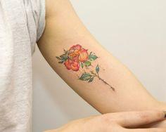 Magical watercolor rose by Georgia Grey