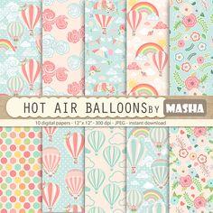 Balloon digital paper: HOT AIR BALLOONS digital by MashaStudio