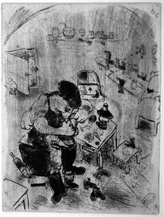 Chagall Etchings for Dead Souls Maxime Teliatnikov the Cobbler -  etching, 1923-27.