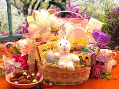 Easter Extravaganza Easter    Extra! Extra! Read all about it! The Easter Extravaganza gift basket carries more than your loving Easter greetings! Inside this pastel colored Easter basket, you'll find an amazing assortment of chocolates and candies to tempt the most discriminating Easter connoisseur. Treat your friends and loved ones to the Easter Extravaganza gift basket!,
