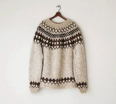 1970s Icelandic Wool Sweater / Vintage Oversized Handknit Fair Isle Pullover Sweater
