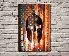 American Flag & Spartan Helmet on Rusted Metal Vertical Print on Canvas Hung on Brick Wall