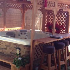 Bar gazebo over hot tub