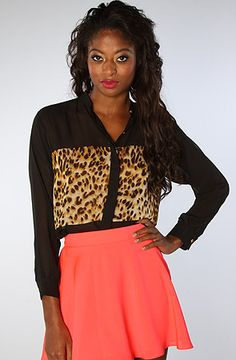 The 2 Tone Oversized Blouse in Leopard by Naven