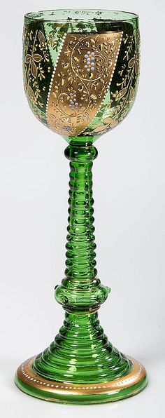 Vintage Bohemian Moser style decorated rhine wine green glass with gilt and polychrome-enamel decorations on ringed hollow stem with applied prunts and trumpet foot