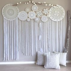 """558 Likes, 22 Comments - Dreamcatcher Collective (@dreamcatcher_collective_au) on Instagram: """"Custom made flower wall mural for Meagan with her grandmothers handmade doilies. Love how they can…"""""""