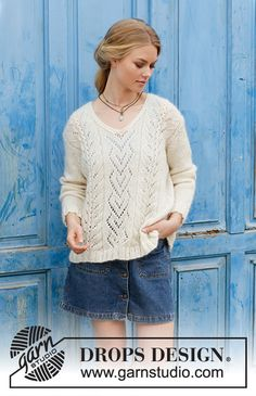 Free knitting patterns and crochet patterns by DROPS Design Lace Knitting Patterns, Lace Patterns, Free Knitting, Scarf Patterns, Drops Design, Pull Crochet, Knit Crochet, Drops Kid Silk, Lace Sweater