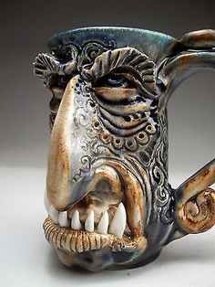 Monster-Face-Mug-Jug-folk-art-sculpture-pottery-by-Mitchell-Grafton