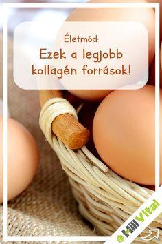 A tojás és a tojásfehérje a legjobb kollagén források közé tartozik. Ez annak köszönhető, hogy olyan aminosavakat tartalmaz mint a glicin és a prolin. Ez a 2 aminosav hozzájárul a kollagén létrejöttében. Ajánlott inkább egész tojást fogyasztani mivel így biztosítod számodra az egészséges zsírok és a jó minőségű fehérjék bejutását a szervezetbe.  A zselatin egy fehérje ami a kollagénből származik. Ezt tartják a legmagasabb kollagén tartalmú ételnek. Vitamins, Breakfast, Food, Morning Coffee, Essen, Meals, Vitamin D, Yemek, Eten