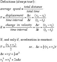 Kinematic equations for General Physics