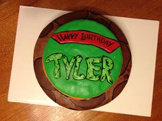 TMNT cake for my brother, marshmallow fondant