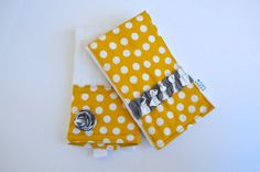 Baby Girl Burp Cloths  Yellow Dots & Gray Chevron  by EagerBaby