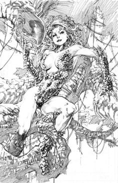 Poison Ivy by Philip Tan, in Brian Jones's Misc art & pages Comic Art Gallery Room Comic Book Artists, Comic Book Characters, Comic Artist, Comic Character, Comic Books Art, Arte Dc Comics, Drawn Art, Batman, Black White Art
