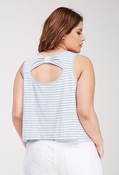 Striped Bow-Back Tank | Forever 21 PLUS - 2000052907