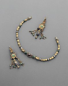 A Hellenistic Gold Polychrome Jewelry Set  ca. 1st century B.C.E., L. 26.5 cm. (necklace)