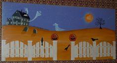 Primitive Folk Art Halloween Pumpkin Ghost by CoveredBridgePrim, $38.00