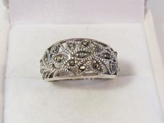 Vintage sterling silver 925 Marcasite band ring size 7. $18.00, via Etsy.