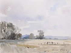 """EDWARD WESSON (1910-1983) BRITISH English landscape, trees, field and fence. Signed. Watercolour. Unframed. 10.5 x 13.5ins. Personal Inscription on Reverse: """"To Kay dear with love, Edward""""."""