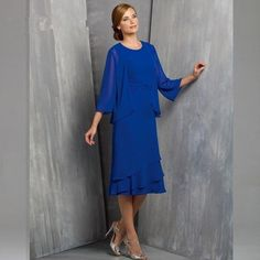 >> Click to Buy << 2017  New Spring Summer Royal Blue With Jacket Groom Suit Chiffon Fall Tea-Length Mother of The Bride Dresses Plus size #Affiliate