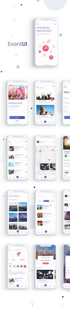 Event UI for IOS is a template includes 13 screen. You can easly Change Colors and images with Smart Objects.