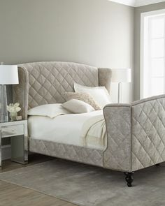 """Old Hickory Tannery """"Silver Valley"""" Queen Sleigh Bed"""