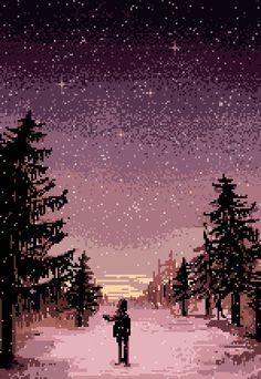 pixel output — winter by pixelMewr Pixel Art Gif, Pixel Art Games, Animation Pixel, Pixel Art Background, 8 Bit Art, Game Art, Amazing Art, Cool Art, Concept Art