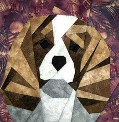 Cavalier King Charles Spaniel paper pieced block