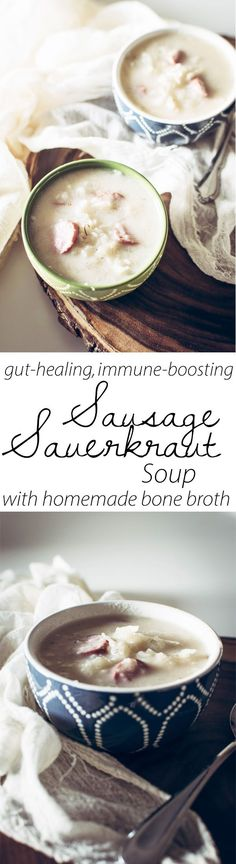 Gut healing Homemade bone broth combined with the power of nutrient dense and probiotic sauerkraut! Perfect for GAPS diet sauerkraut recipes!