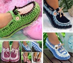 Crochet Loafer Slipper Pattern ~ check out the collection of boat shoes, loafers, slippers - FREE - CROCHET Crochet Boat, Crochet Toddler, Crochet Shoes, Crochet Baby Booties, Crochet Yarn, Free Crochet, Loafer Slippers, Knitted Slippers, Loafers