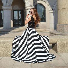 Women's Stylish Black O-Neck Striped Chiffon Ankle-Length Maxi Dress