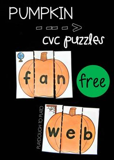 Pumpkin CVC Puzzles - Playdough To Plato - Fun pumpkin CVC puzzles. Perfect word family activity for a kindergarten or first grade fall unit! Kindergarten Centers, Kindergarten Reading, Literacy Centers, Kindergarten Classroom, Classroom Ideas, Disney Classroom, Literacy Stations, Classroom Resources, Future Classroom