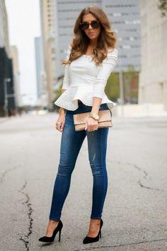 White Off Shoulder Peplum Top Stylish Outfits, Fall Outfits, Cute Outfits, Look Fashion, Fashion Outfits, Womens Fashion, Fashion Trends, Jeans Fashion, Fashion News
