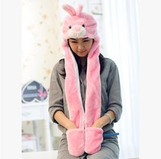 Winter rabbit hat scarf and gloves all in one for girls plush hat