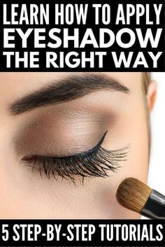 5 Tutorials zeigen Ihnen, wie Sie Lidschatten richtig auftragen If you want to know how to apply eyeshadow like a pro, this collection of simple and easy step-by-step tutorials for beginners is for you! Regardless of the color (blue, green, brown) and sha Eye Makeup Tips, Skin Makeup, Makeup Ideas, Easy Makeup, Eyeshadow Makeup, Makeup Tutorials, Makeup Brushes, Makeup Remover, Eyeshadow Tips