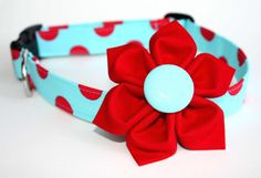 Dog Collar & Flower Set  Cherry Sky  Red and by CreatureCollars,