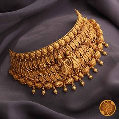 Gold Temple Jewellery, Gold Wedding Jewelry, Bridal Jewelry, Gold Chocker Necklace, Long Gold Necklaces, Short Necklace, Simple Necklace, Chokers, Indian Jewelry Sets