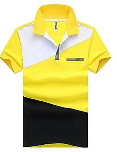 solapa camisa de polo de manga corta ocasionales de los hombres Polo Shirt Brands, Mens Polo T Shirts, Men's Polos, Vogue, Camisa Polo, Tshirts Online, Casual, Mens Tops, Cotton