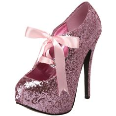 Bordello TEEZE-10G Baby Pink Glitter Pumps