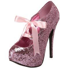 Bordello TEEZE-10G Baby Pink Glitter Pumps