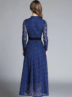 Floral Print Hollow Out Lace Stand Collar Long Sleeve Big Hem Dress