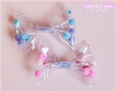 Small Clear Transparent Fairy Kei Hair Bow by LittleMizzKitty