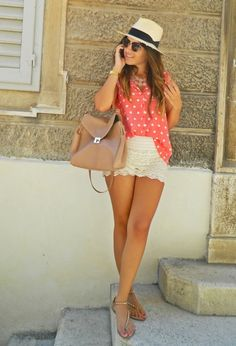 37 Fashionable Combinations With Shorts. Love the combo of lace shorts, fedora and a sheer printed blouse!