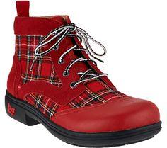 Alegria Plaid Lace-up Ankle Boots - Kylie - A271870 — QVC.com