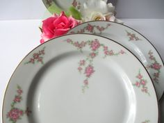 Antique Heinrich Bavarian Pink Rose Salad Plates by thechinagirl