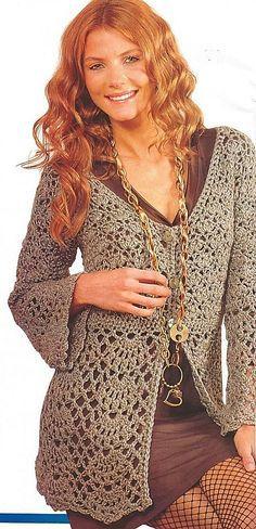 Pretty Crochet Cardigan: diagrams MANY Cardigan Au Crochet, Gilet Crochet, Crochet Jacket, Crochet Shawl, Crochet Stitches, Crochet Sweaters, Pull Crochet, Knit Crochet, Crochet Buttons