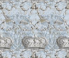 Crown Damask ~ Le Dauphin ~ Gilt and Silvered fabric by peacoquettedesigns on Spoonflower - custom fabric