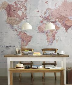 Floor to ceiling world map- great for breakfast nook/kitchen table