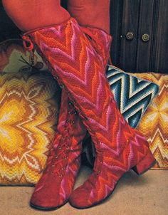 Erica Wilson's Bargello Needlepoint boots - PBS 1971