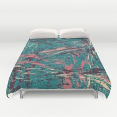 PAINTERLY II Duvet Cover by Nika  - $99.00 #society6 #nikamartinez #duvet #cover #artistic #brushes #painting #digital #emerald #green #coral #purple #creme #home #decor #bedroom #bed