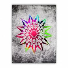 Grunge Trippy Star Wood Print $29.96